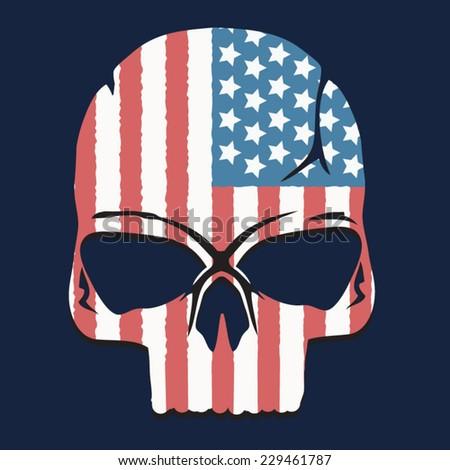 America Skull illustration, t-shirt graphics, vectors - stock vector