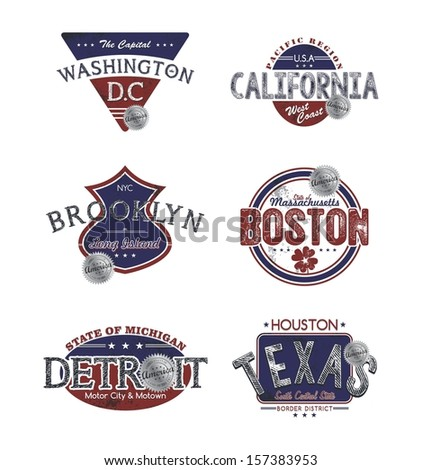 america state label set - stock vector