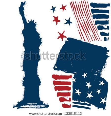 America. Statue of liberty. Vector. - stock vector