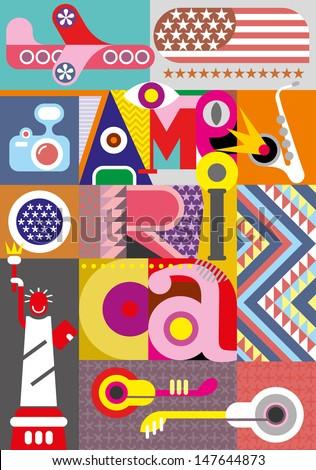 "America - vector collage. Illustration with inscription ""America"". - stock vector"