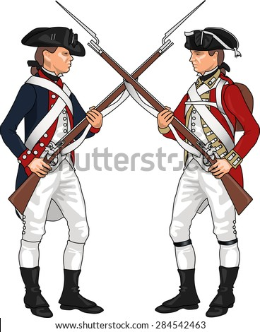 American and British Soldiers from American Revolutionary War Clashing Each Others Weapons, Illustration Isolated on White Background, EPS 10 Vector - stock vector