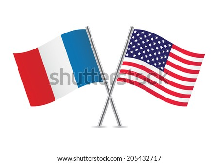 American and French flags. Vector illustration. - stock vector
