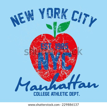 American big apple graphic design vector art - stock vector