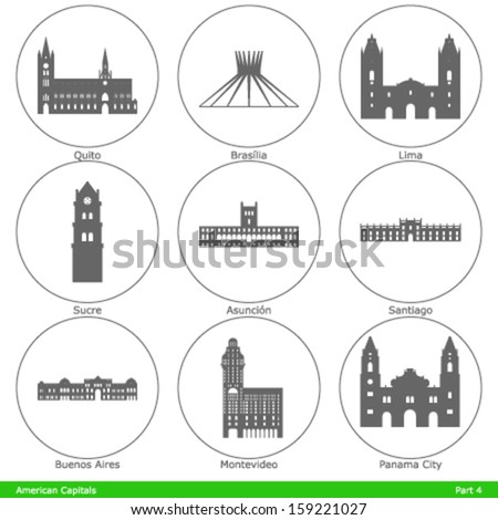American Capitals - Symbolized by a landmark building (part 4) - stock vector