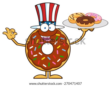 American Chocolate Donut Cartoon Character Serving Donuts. Vector Illustration Isolated On White - stock vector