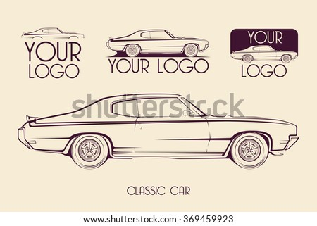 American classic sports car silhouettes, outlines, contours. Your Logo - stock vector