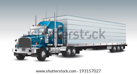 American commercial delivery truck. Vector illustration - stock vector