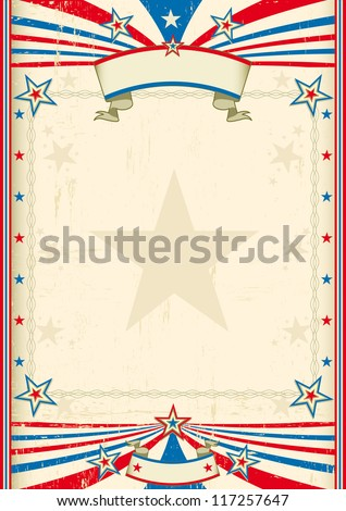 American cool frame. A tricolor background with a large frame for you - stock vector