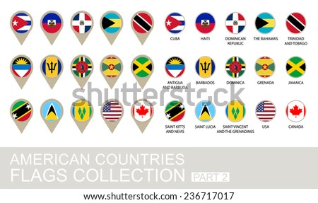 American Countries Flags Collection, Part 2 , 2  version - stock vector