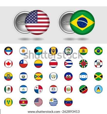 American countries, World Flag collection. Pin badges. Part 1/6 - stock vector