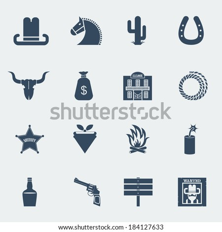 American cowboy icons. Vector wild west pictograms isolated for design - stock vector