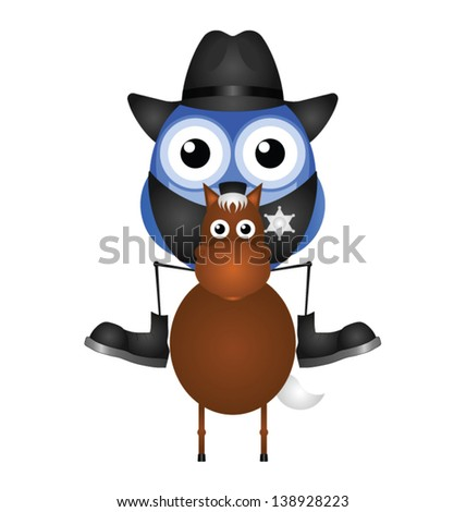 American Cowboy sat on his horse isolated on white background - stock vector