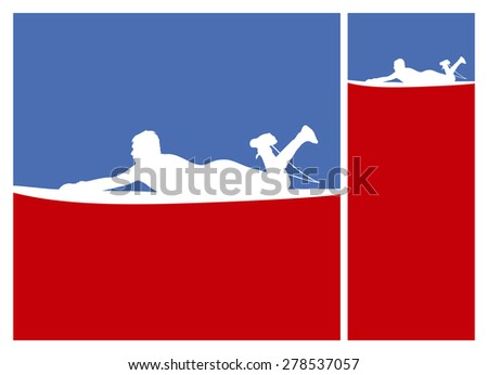 american culture surf frames with rider on the surfboard - stock vector