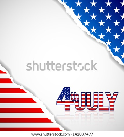 American document background made of torn papers with 4th july title - stock vector
