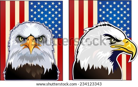 American eagle and flag - stock vector