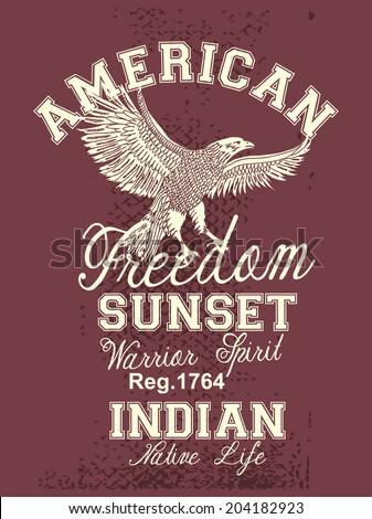 american eagle freedom style vector art - stock vector