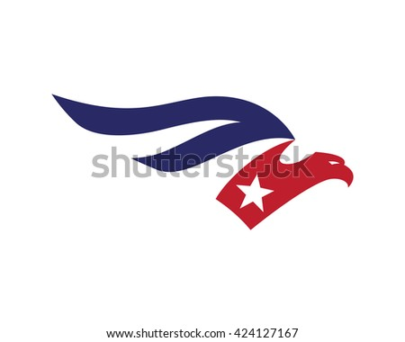 American Eagle Patriotic Logo - National Freedom - stock vector