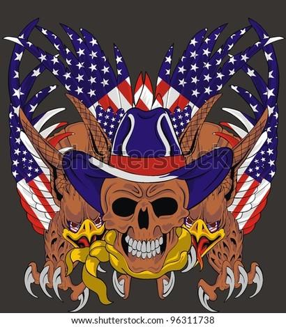 American eagle skull - stock vector
