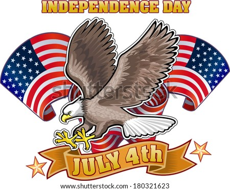 American eagle USA flag 4th of July independence day - stock vector