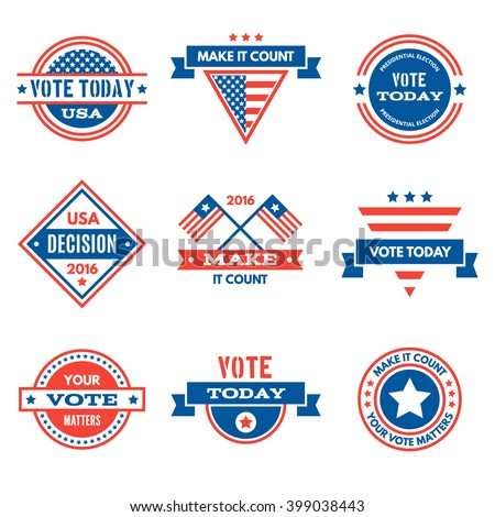 American election badges and vote logo, labels. - stock vector