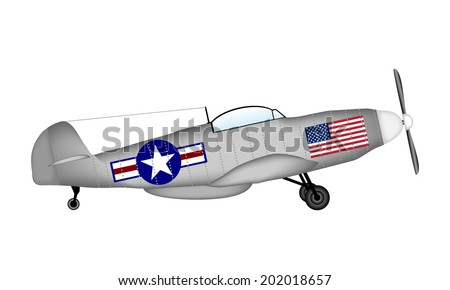 American fighter of World War II on white background.. Vector illustration. - stock vector