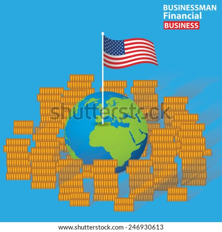 American financial concept design on blue background,clean vector - stock vector