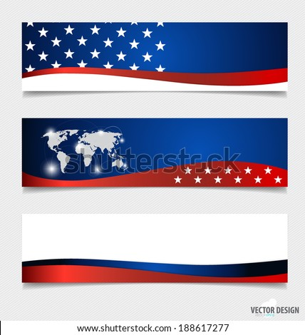 American Flag and note papers, ready for your message. Vector illustration. - stock vector