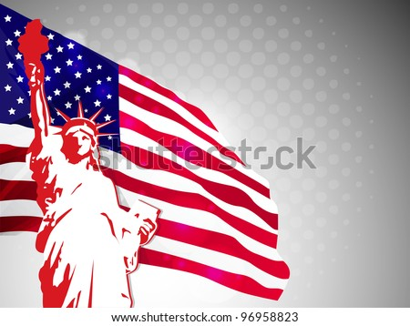American flag and statue of liberty on dotted grey background for 4th July American Independence Day and other events. Vector illustration. eps 10. - stock vector