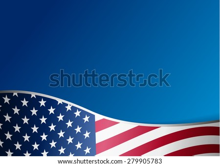 American flag background with frame - stock vector