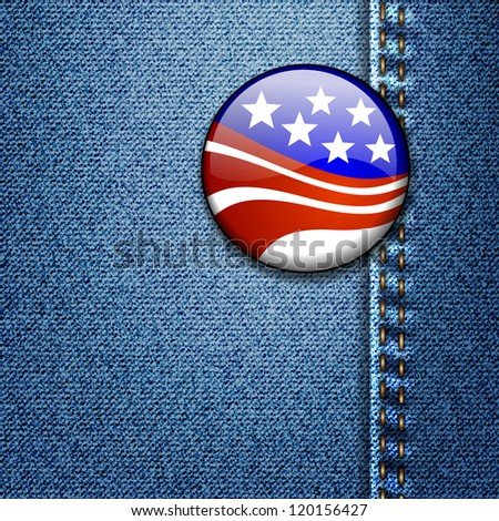 American Flag Badge On Jeans Denim Texture Vector - stock vector