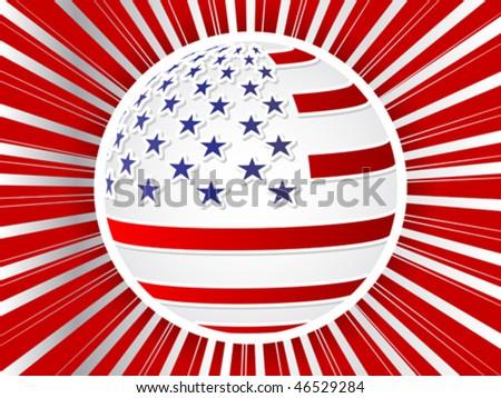 american flag ball - stock vector
