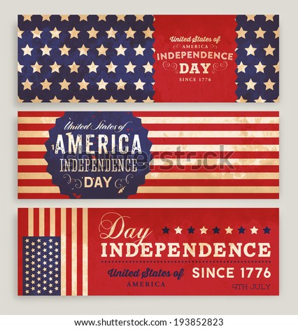American Flag Banners Set with Independence Day Labels for Holiday Design. - stock vector