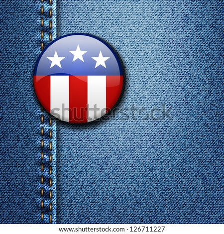 American Flag Emblem Badge On Jeans Denim Texture Vector - stock vector