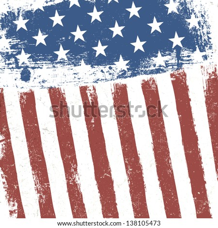 American flag grunge background. Vector, EPS10 - stock vector