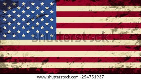 American flag. Grunge background. Vector illustration - stock vector