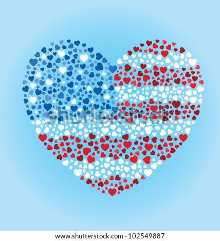 American Flag Heart - stock vector