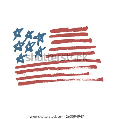 American Flag Illustration. Painted by Brush. - stock vector