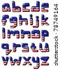 American flag small font - stock vector
