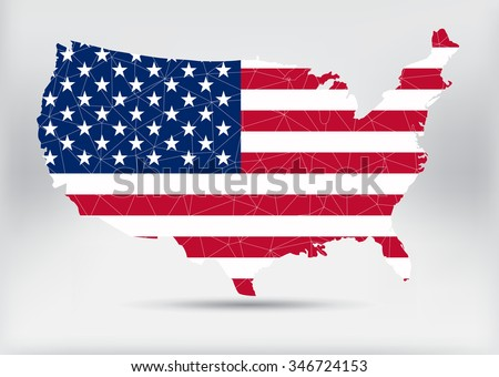 American flag .USA map with flag.Vector illustration. - stock vector