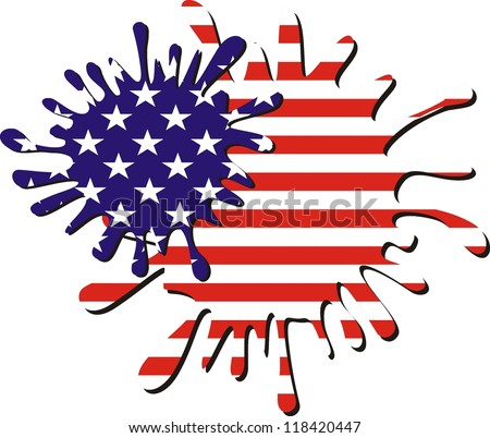 American flag - vector water splash used to create Flag - stock vector