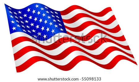 American flag waving. - stock vector