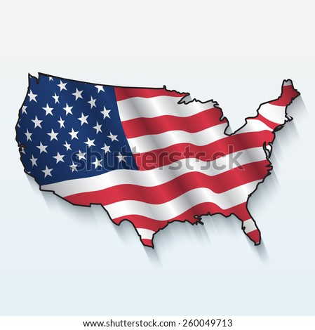 American flag waving as Usa map - stock vector