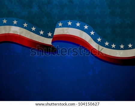 American Flag waving  on grungy background for 4th of July American Independence Day and other events or occasions. EPS 10. - stock vector