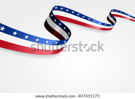 American flag wavy abstract background. Vector illustration. - stock vector