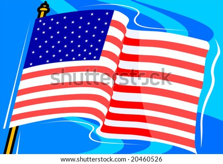 American flag with a background	 - stock vector