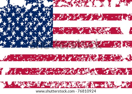 American flag with grunge and splashes - stock vector