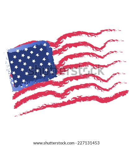 American flags vintage design illustration vector icon - stock vector