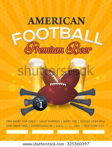 American Football Background, Sport Event Poster, Flyer, Cover, Announcement Design - stock vector