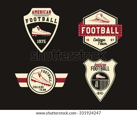 American football badge with cleats, sport logo, label, insignia set in retro color style. Graphic vintage design for t-shirt, web. Colorful print isolated on a dark background. Vector illustration - stock vector