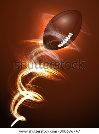 American football ball in fire - stock vector